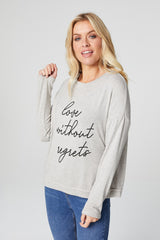 Beige | Slogan Print Long Sleeve Sweatshirt