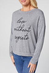 Grey | Slogan Print Long Sleeve Sweatshirt