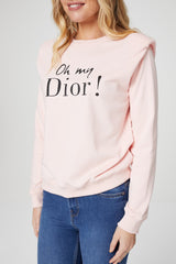 Pink | Graphic Print Power Shoulder Sweatshirt