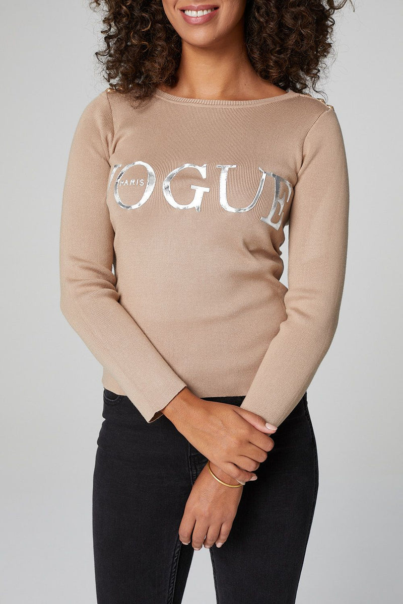 Beige | Slogan Print 3/4 Sleeve Top