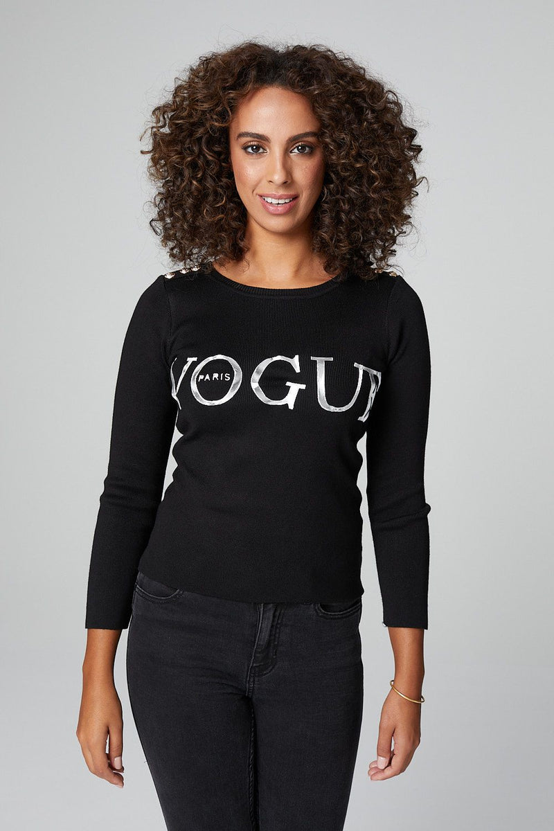 Black | Slogan Print 3/4 Sleeve Top