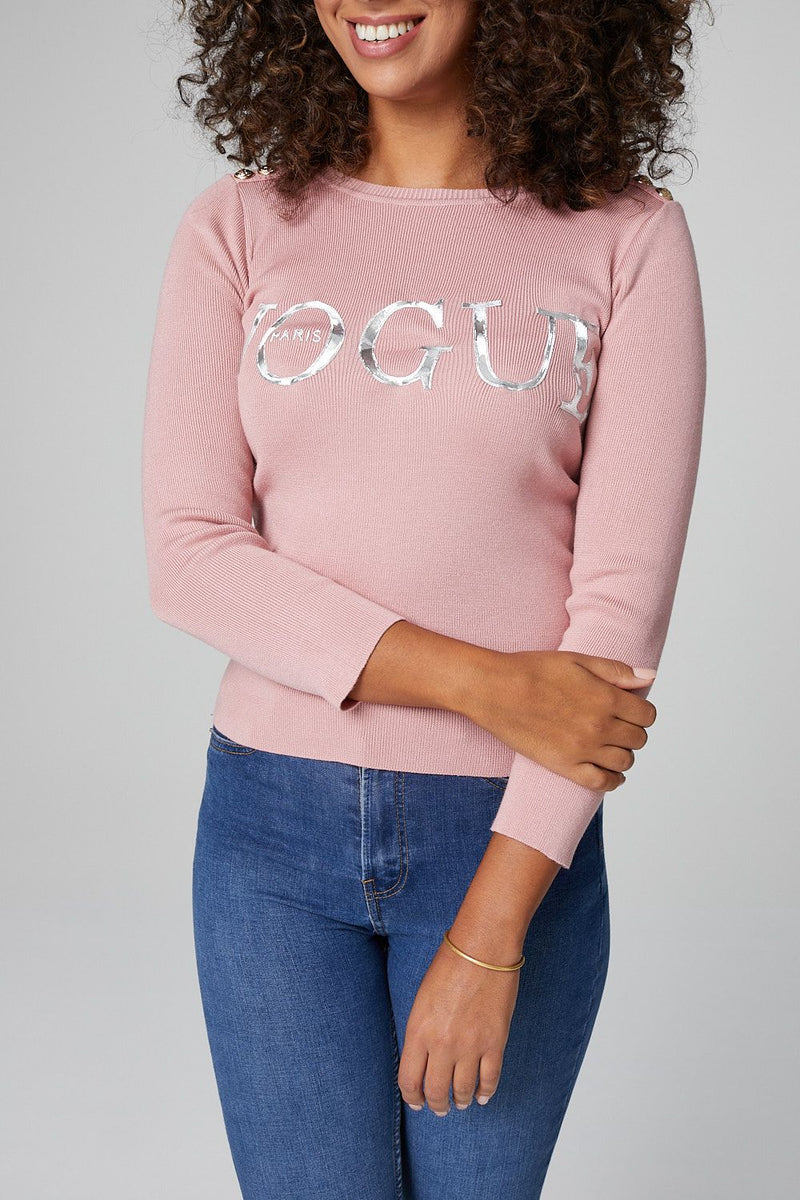 Pink | Slogan Print 3/4 Sleeve Top