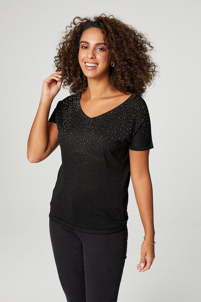 Black | Metallic V-Neck Short Sleeve T-Shirt