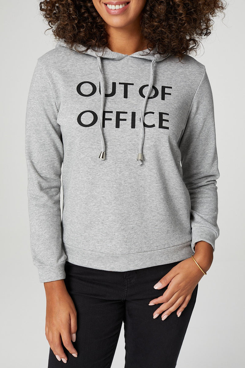 Grey | Graphic Print Hooded Sweatshirt