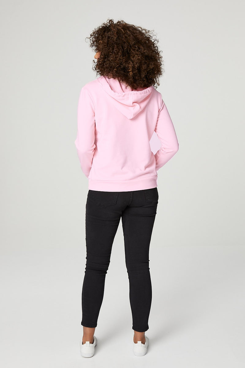 Pink | Slogan Print Hooded Sweatshirt