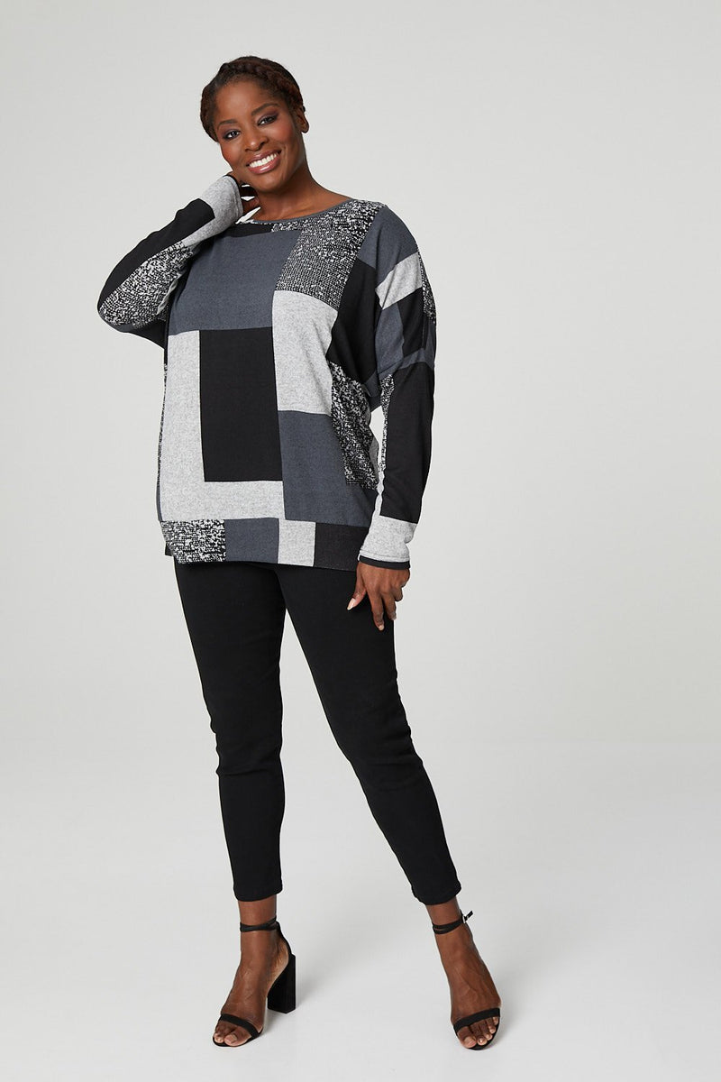 Grey | Curve Colour Block Casual Sweatshirt