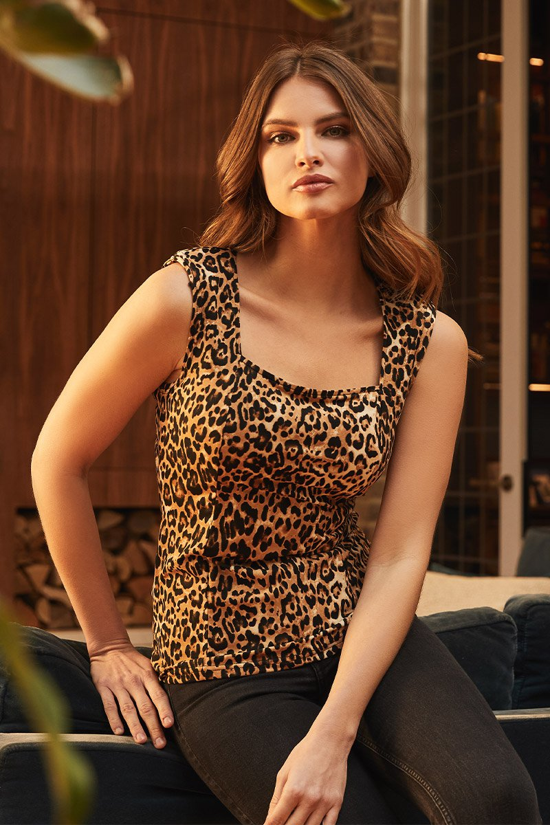 Brown | Leopard Print Square Neck Top