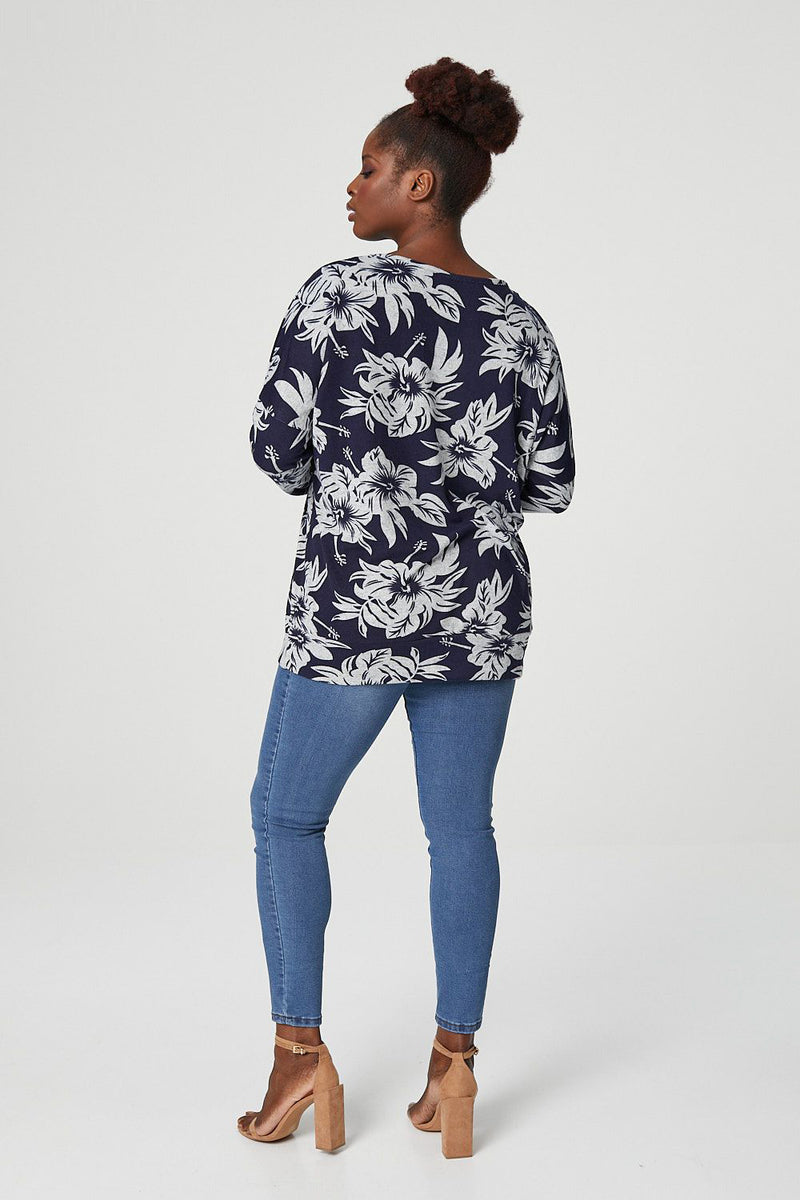 Navy | Curve Floral Print Slouchy Sweatshirt