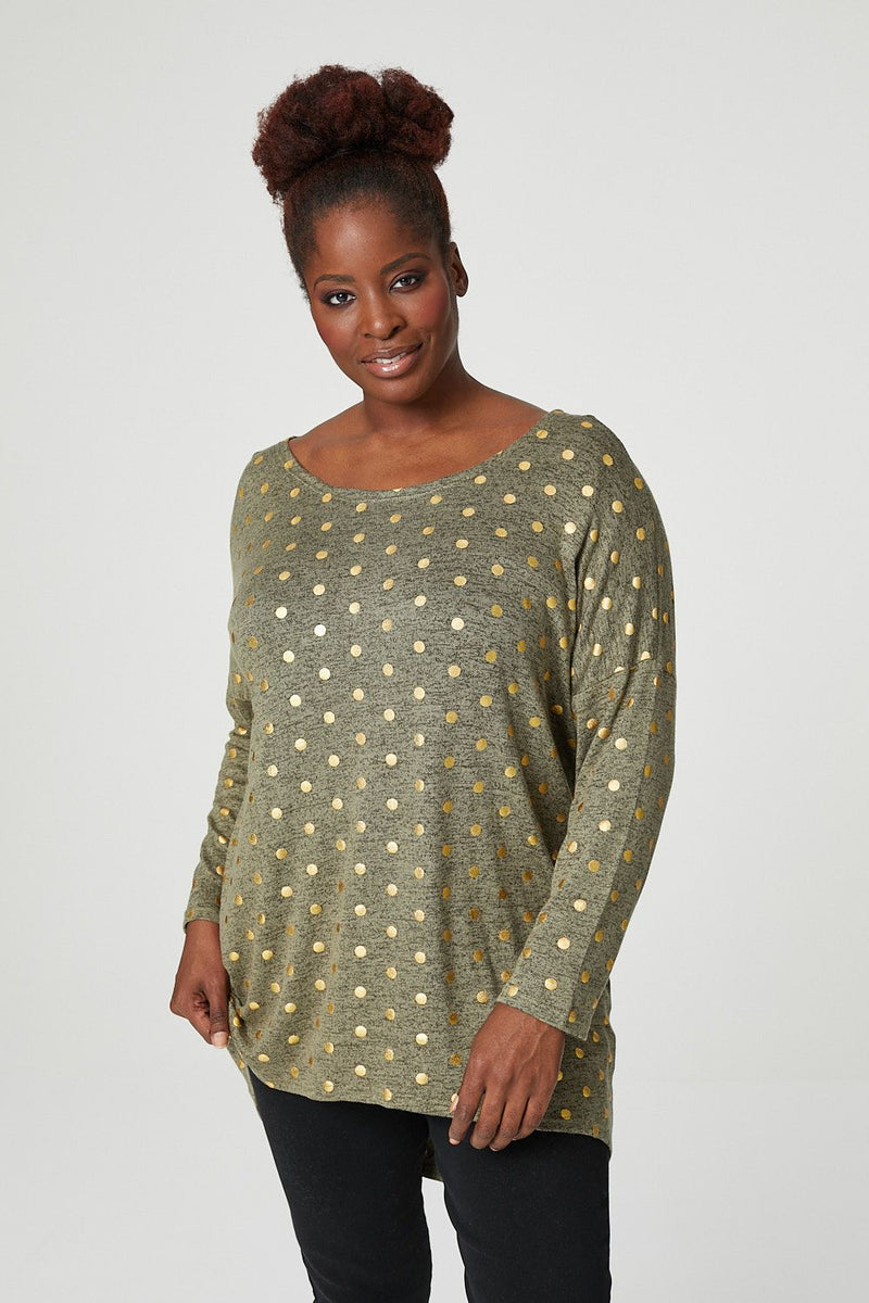 Khaki | Curve Polka Dot High Low Jumper