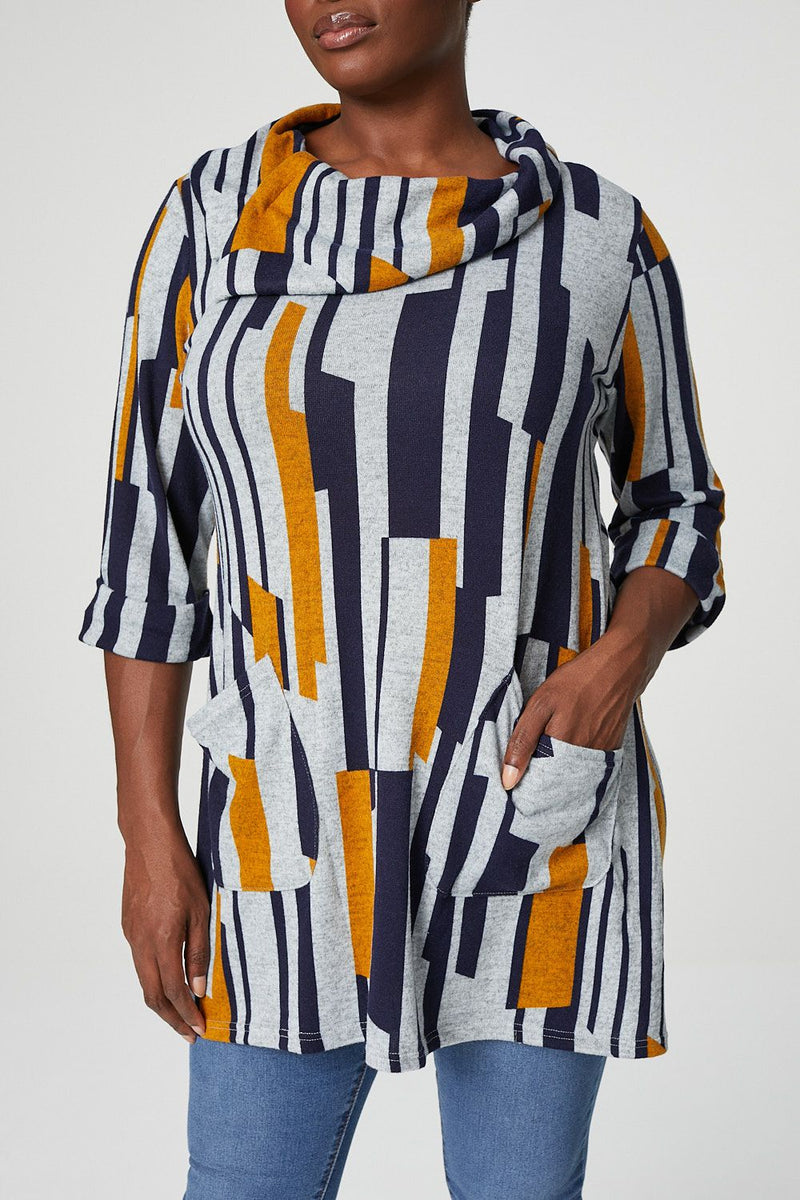 Mustard | Curve Abstract Striped Tunic Top