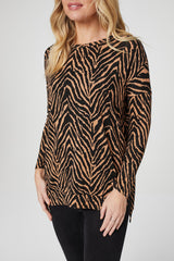 Brown | Zebra Print Long Sleeve Top