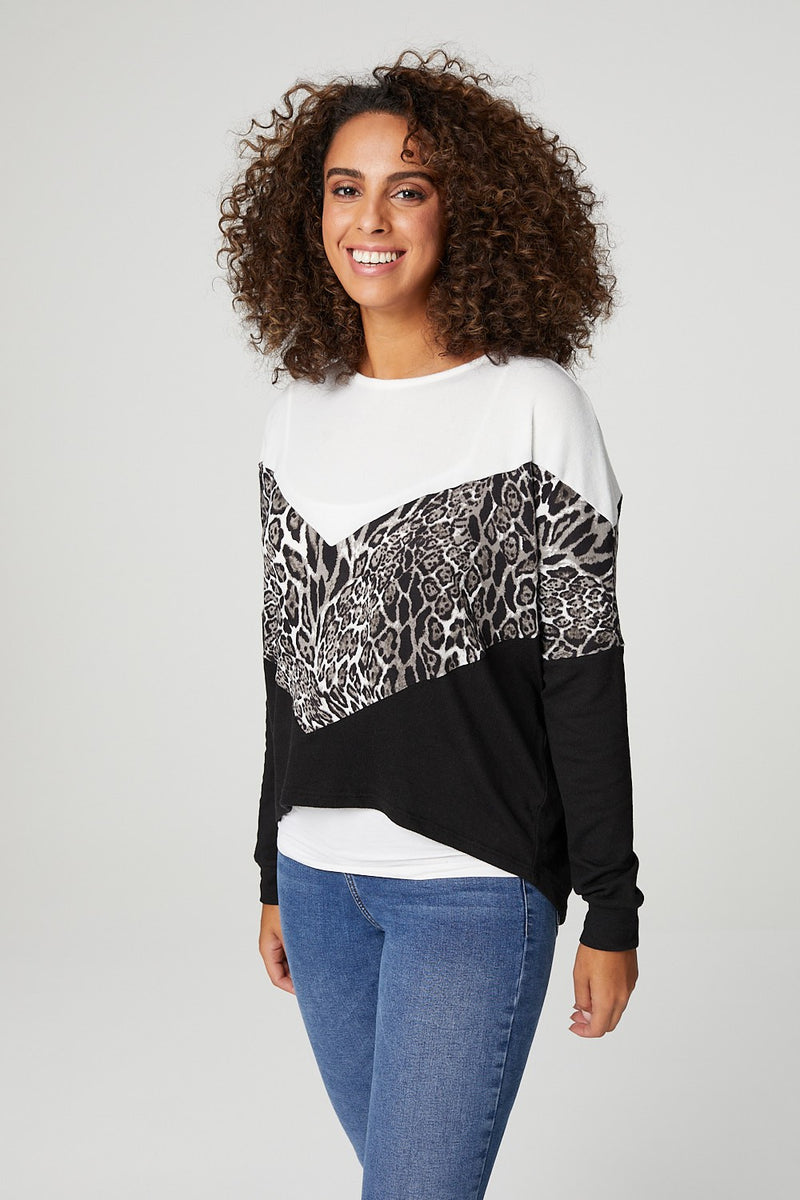 Grey | Leopard Print Long Sleeve Slouchy T-Shirt