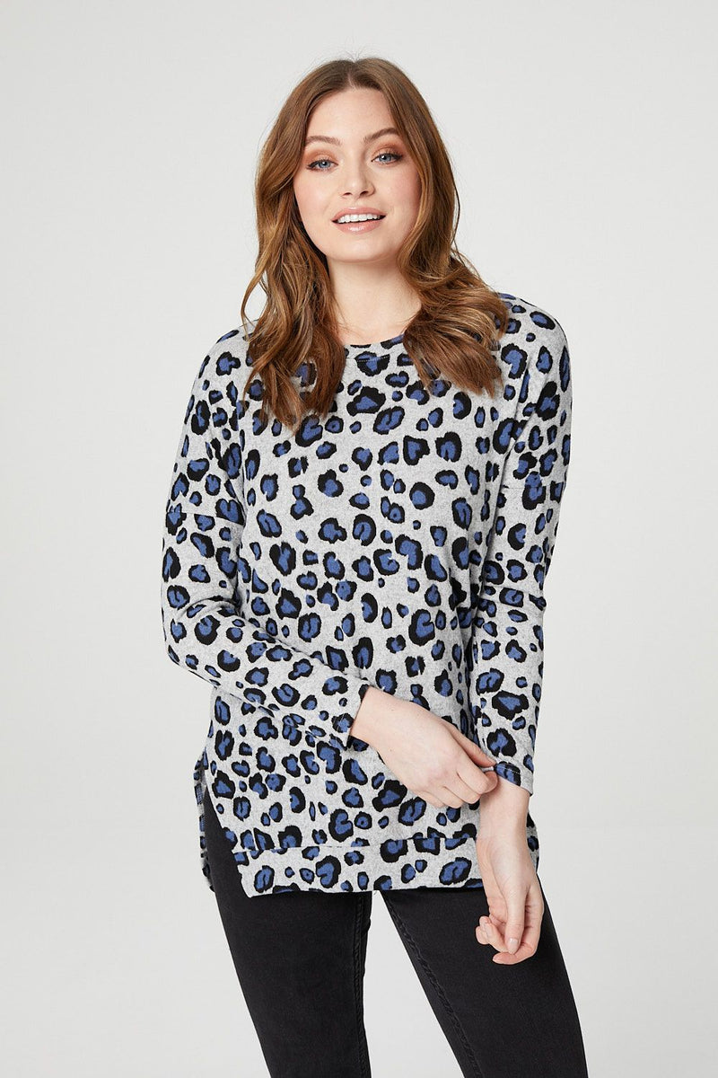 Blue | Leopard Print Long Sleeve Top