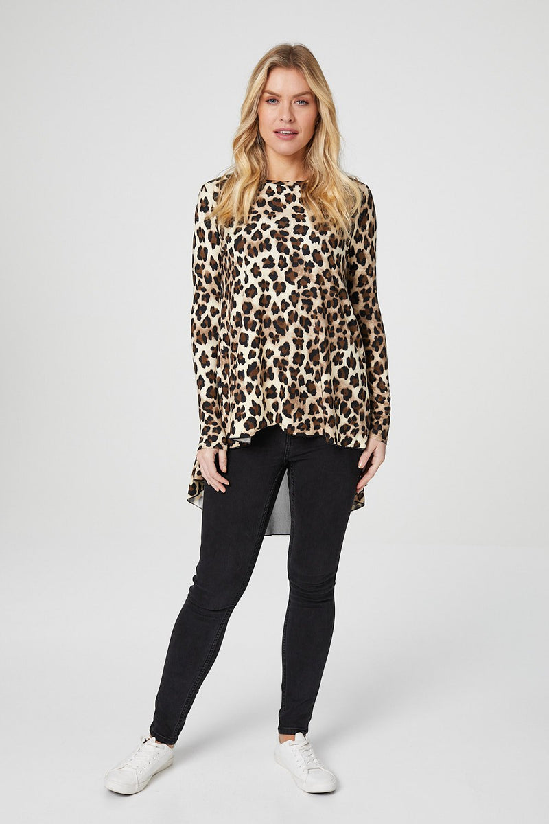 Brown | Animal Print Panel High Low T-Shirt