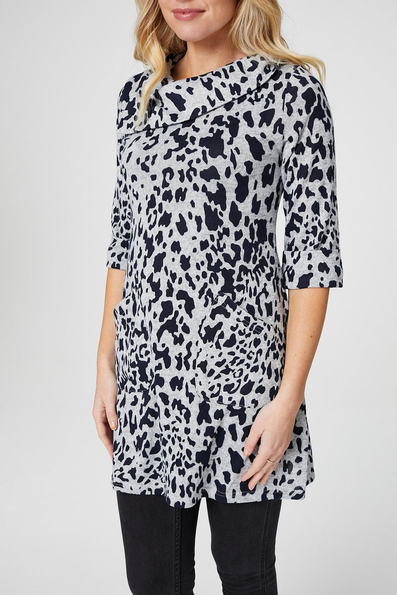 Navy | Animal Print Longline Tunic Top