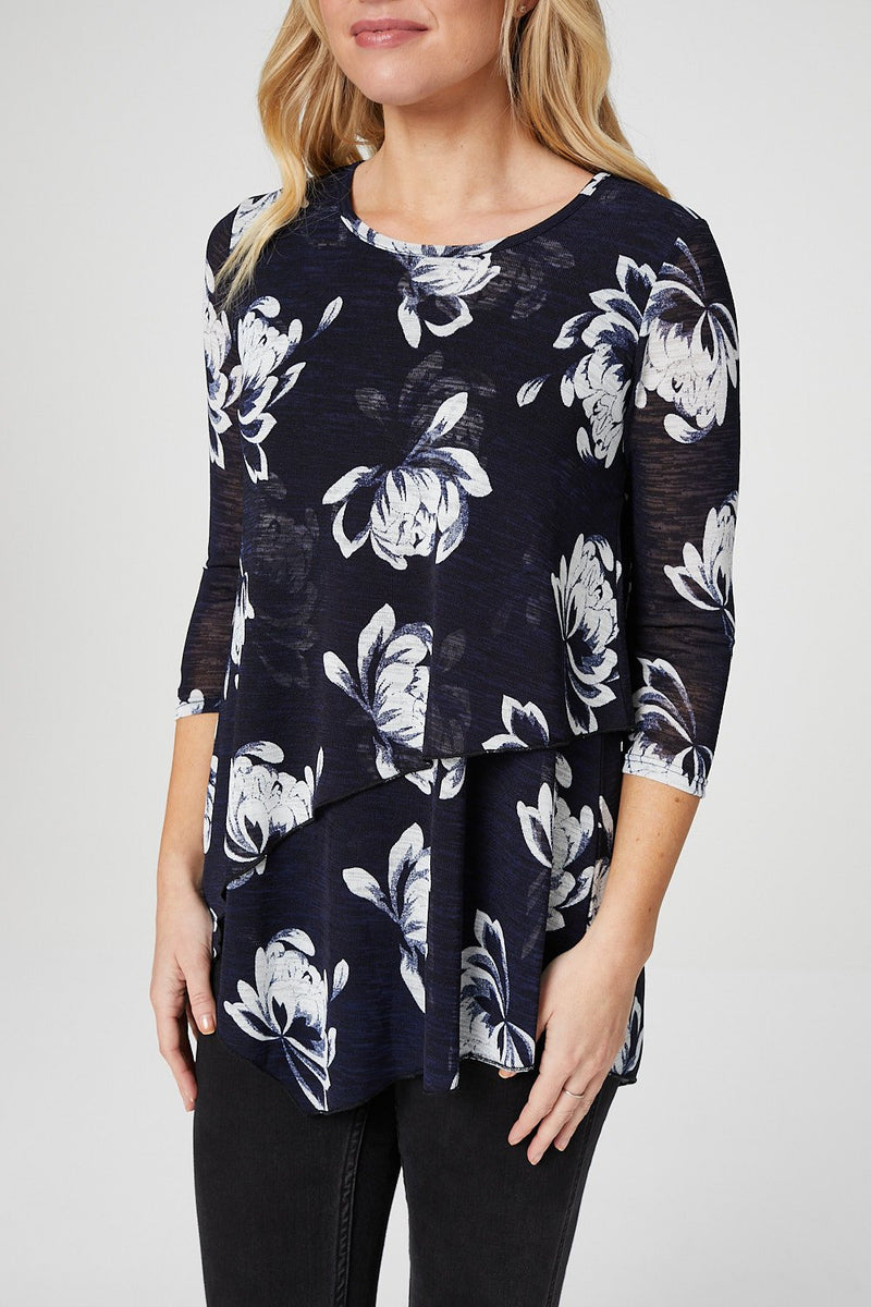 Navy | Floral Asymmetric Layered Top