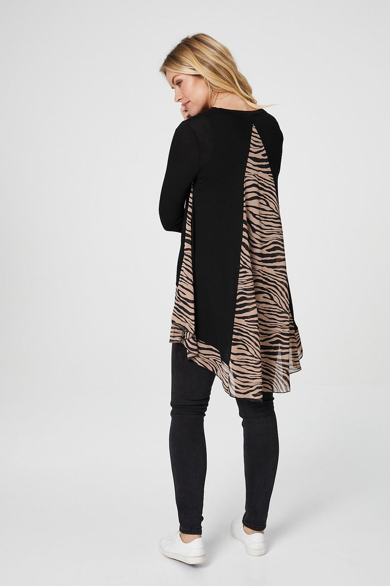 Beige | Zebra Print Panel Long Sleeve T-Shirt