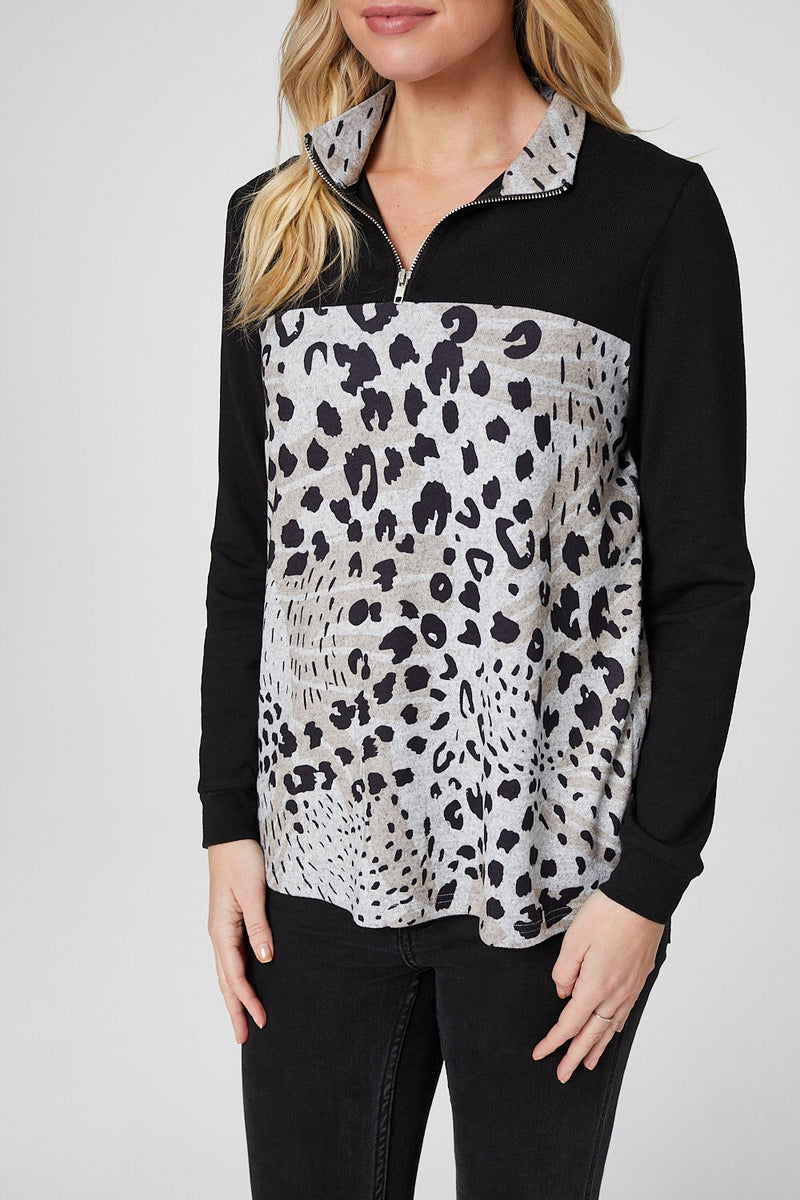 Beige | Animal Print 1/2 Zip Neck Sweatshirt