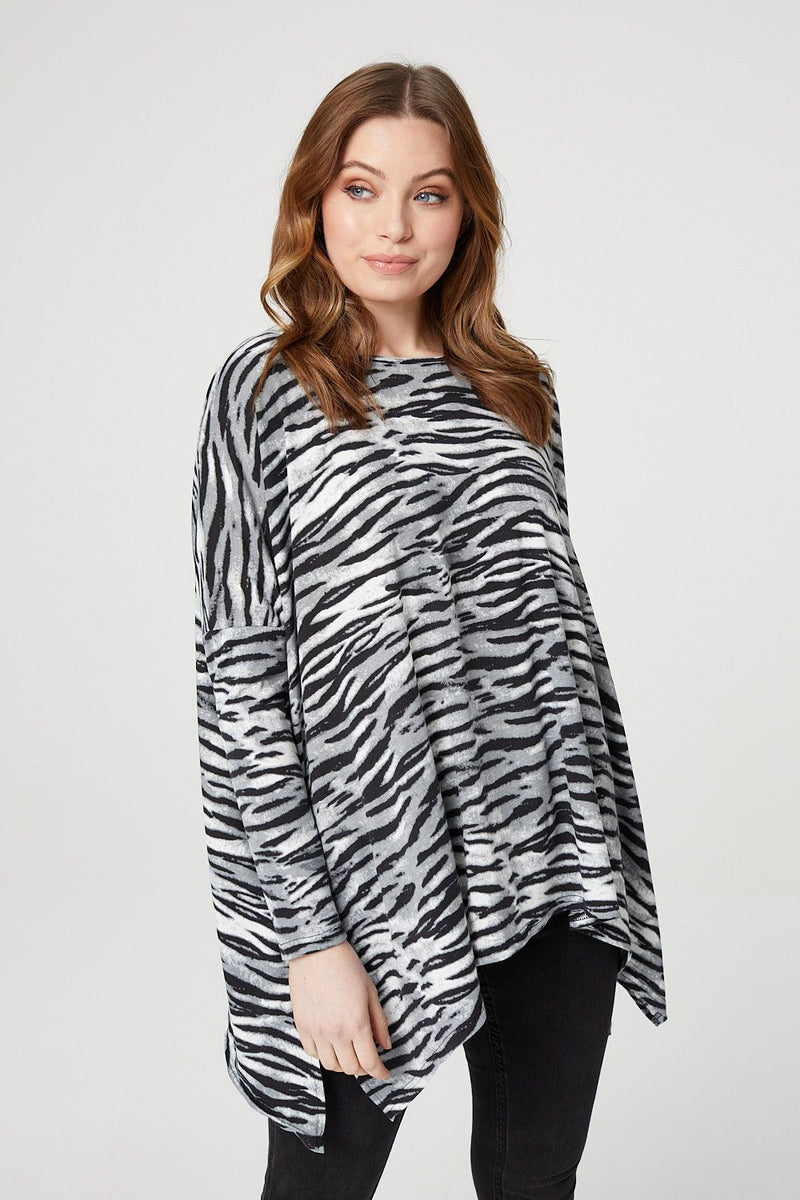 Grey | Animal Print Oversized Hanky Hem Top