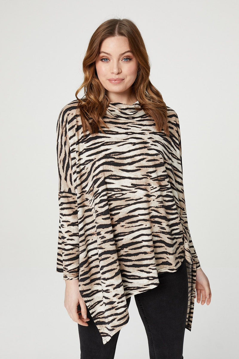 Brown | Animal Print Oversized Asymmetric Top
