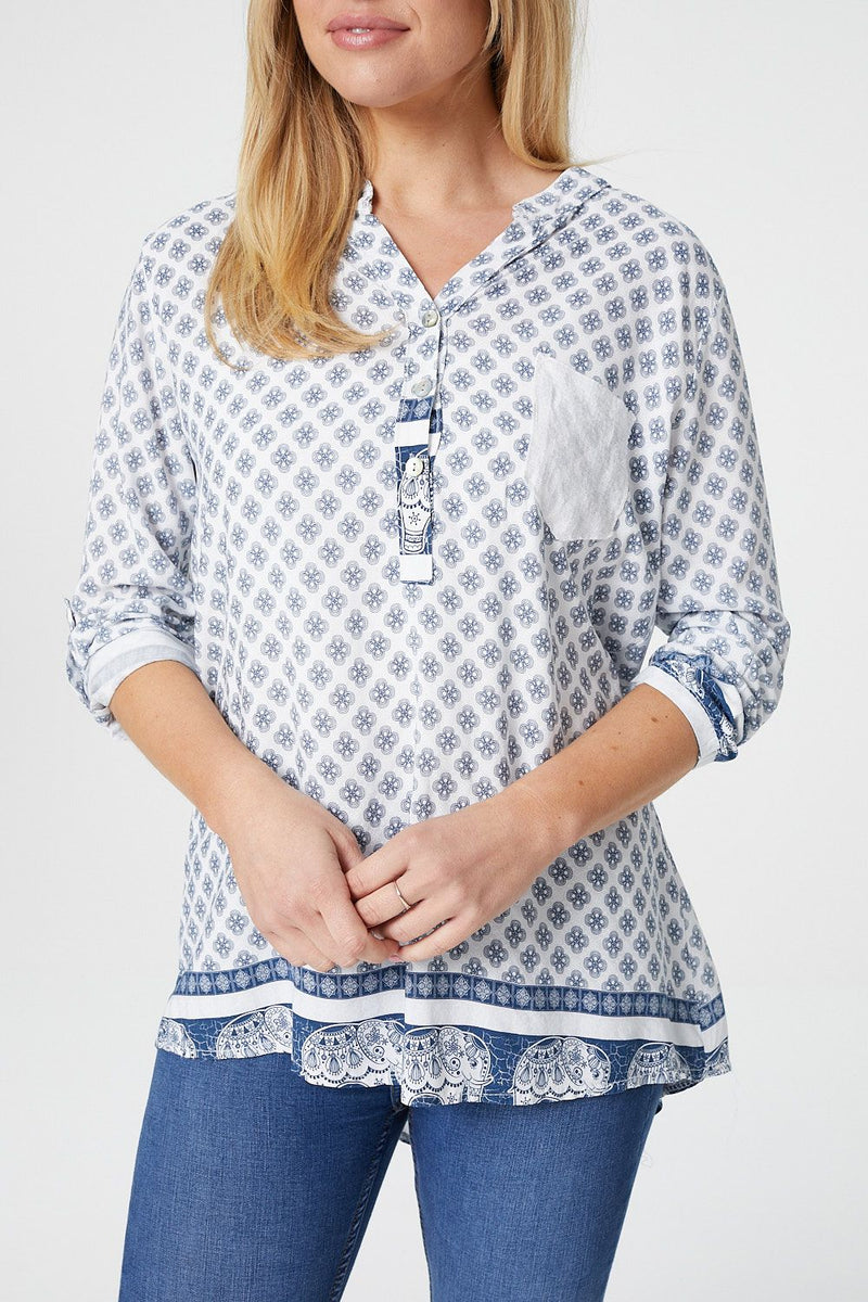 Light Blue | Elephant Print Collarless Shirt