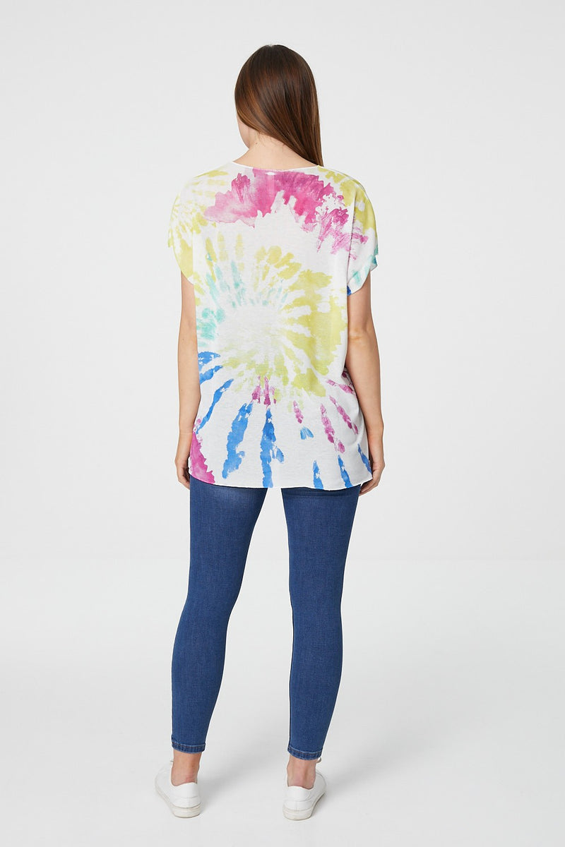 White | Tie Dye Short Sleeve Slouchy T-Shirt