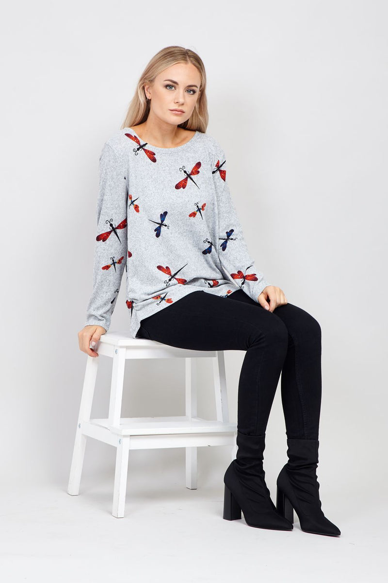 Grey | Dragonfly Knitted Jumper