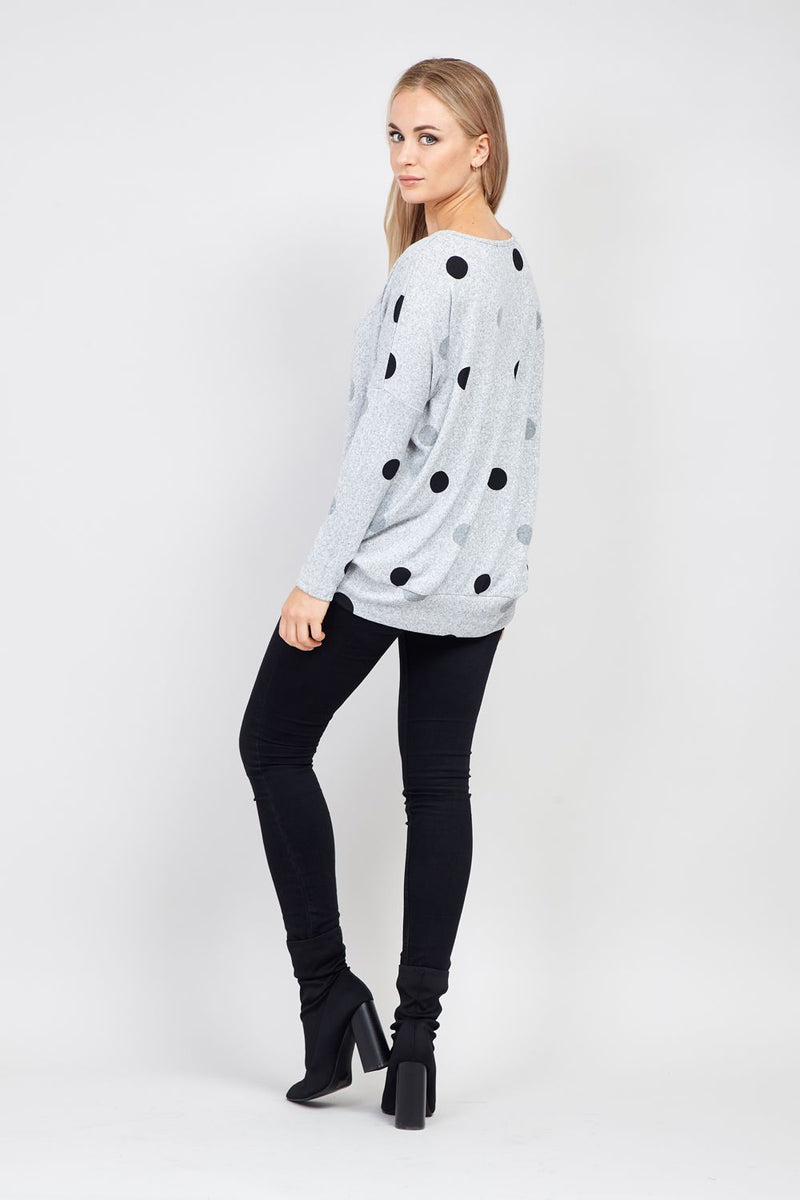 Grey | Polka Dot Knit Jumper