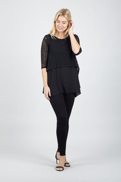 Layered Crochet Blouse - Izabel London