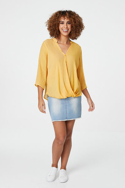 Draped Front Collarless Blouse - Izabel London
