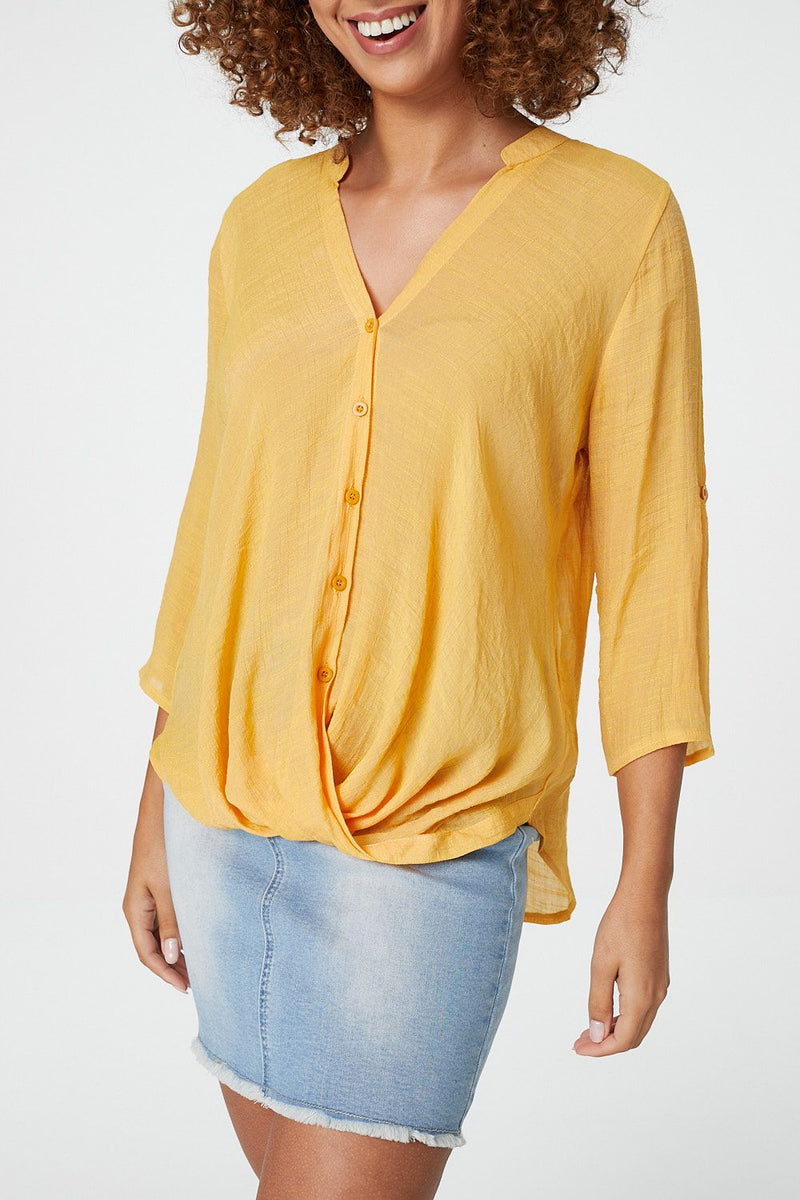 Mustard | Draped Front Collarless Blouse