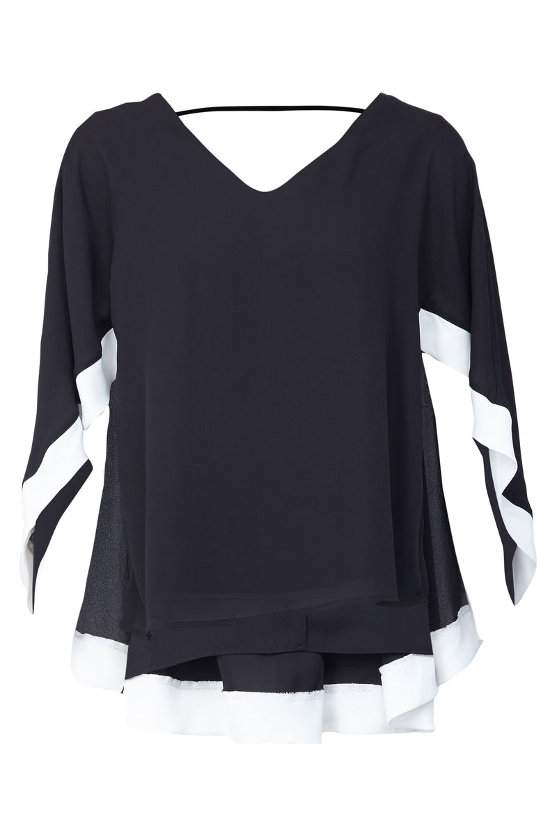 Black | Contrast Hem Cape Blouse