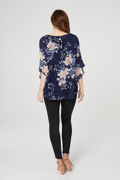 Navy | Floral Frill Sleeve Blouse