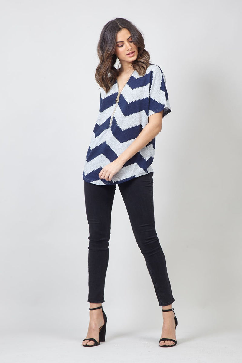 Navy | Chevron Print Zip Front Top