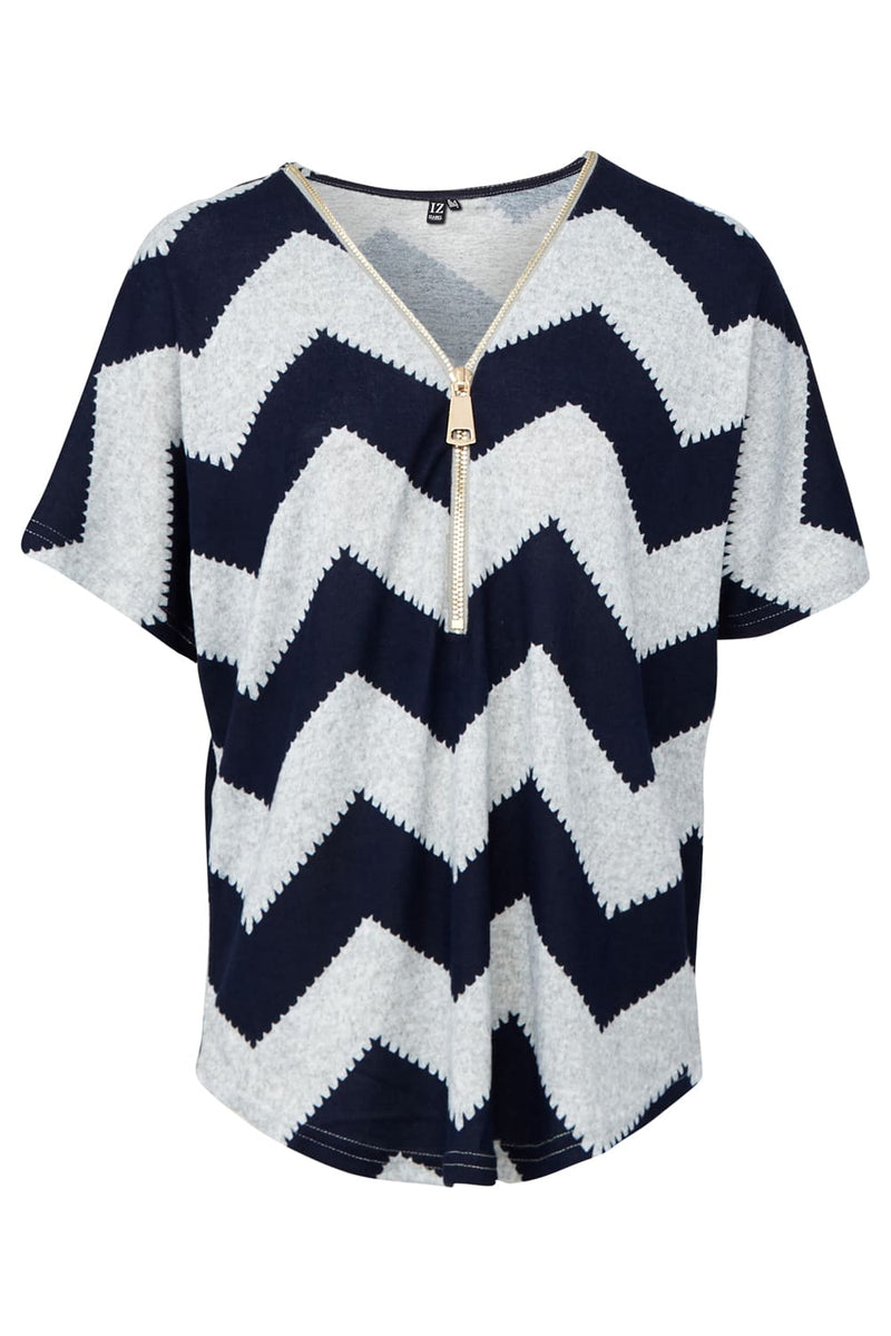 Navy | Zip Front Chevron Print Top