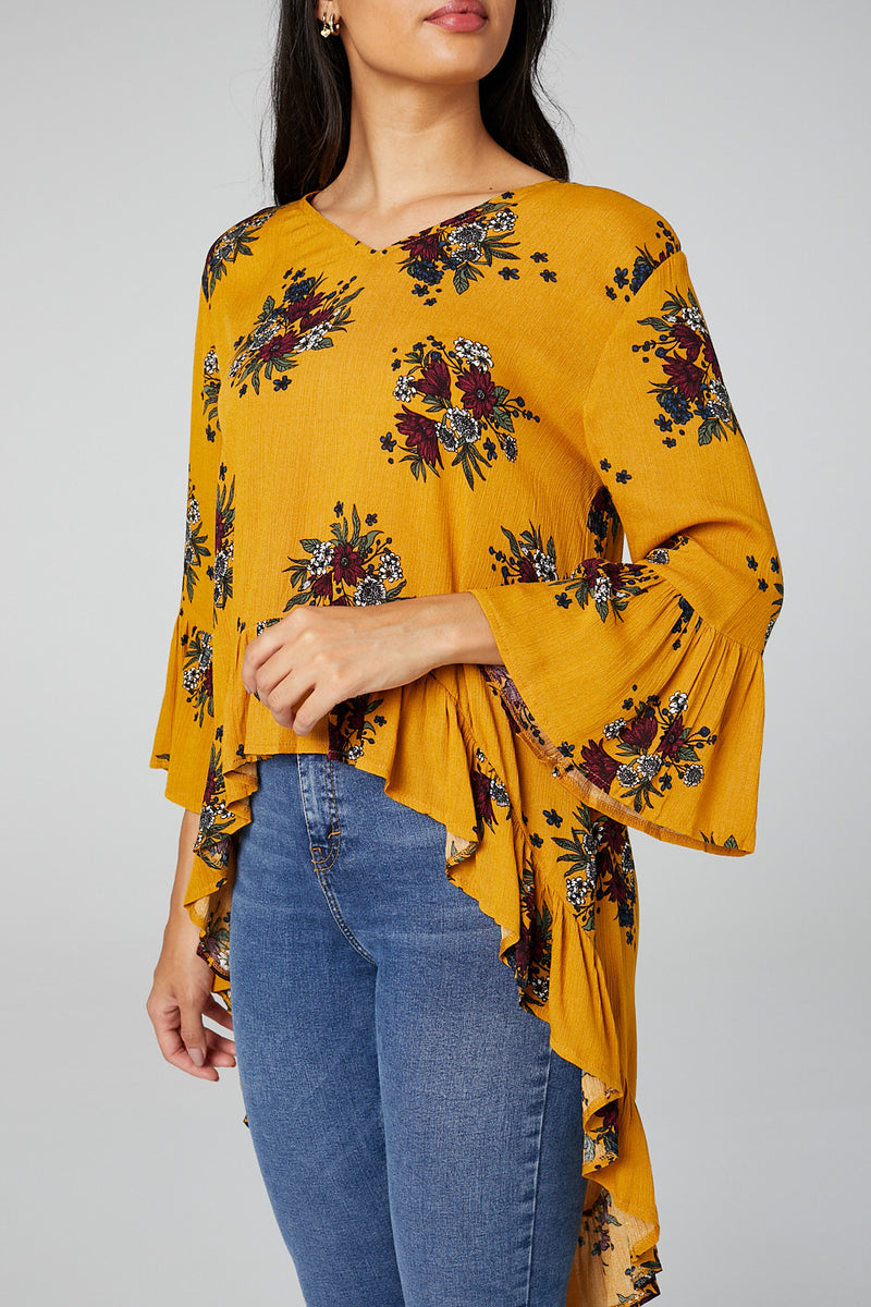 Mustard | Floral High Low Hem Blouse