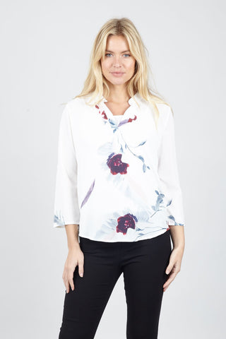 Spring Floral Zip Neck Top