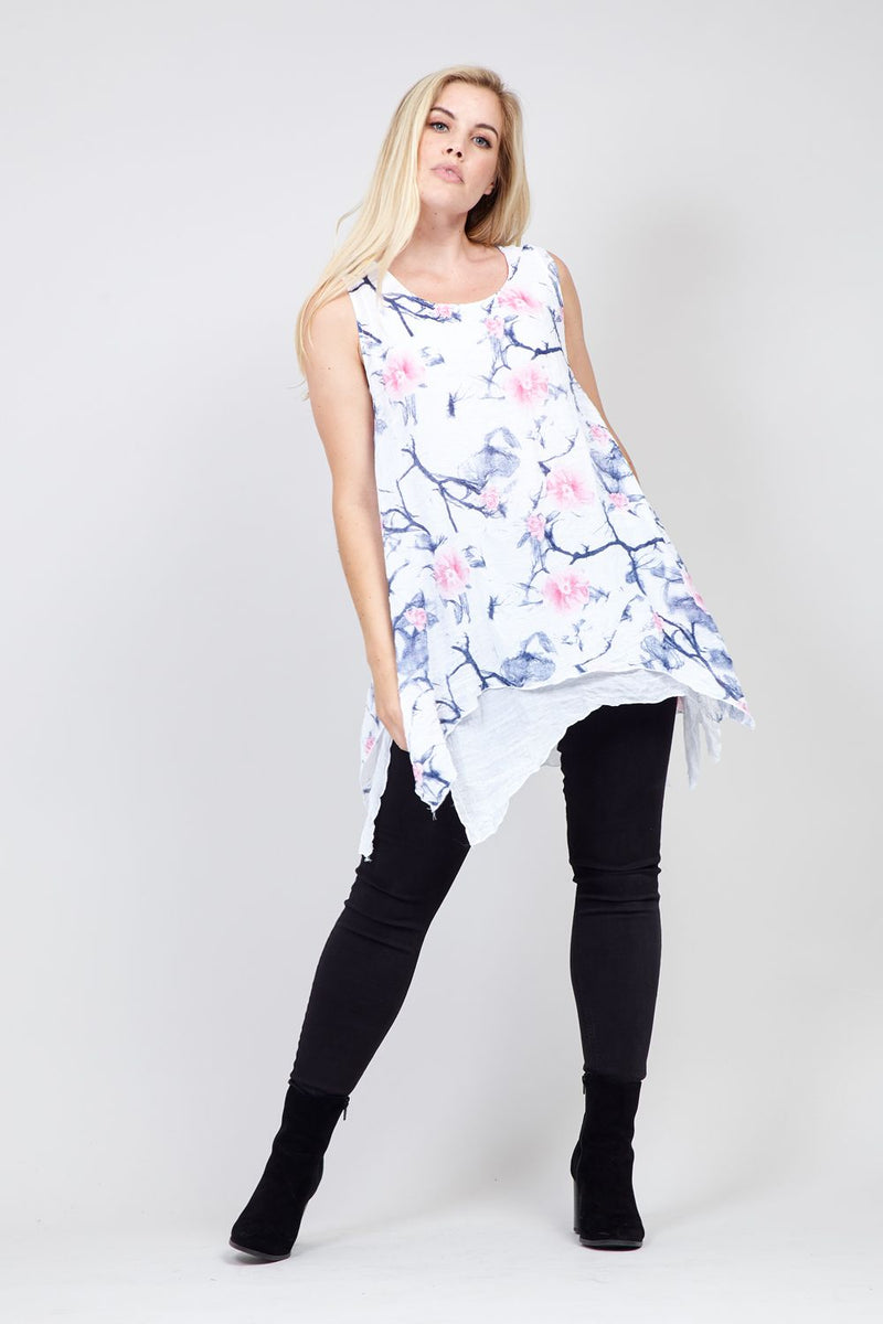 White | Sleeveless Longline Tunic Top