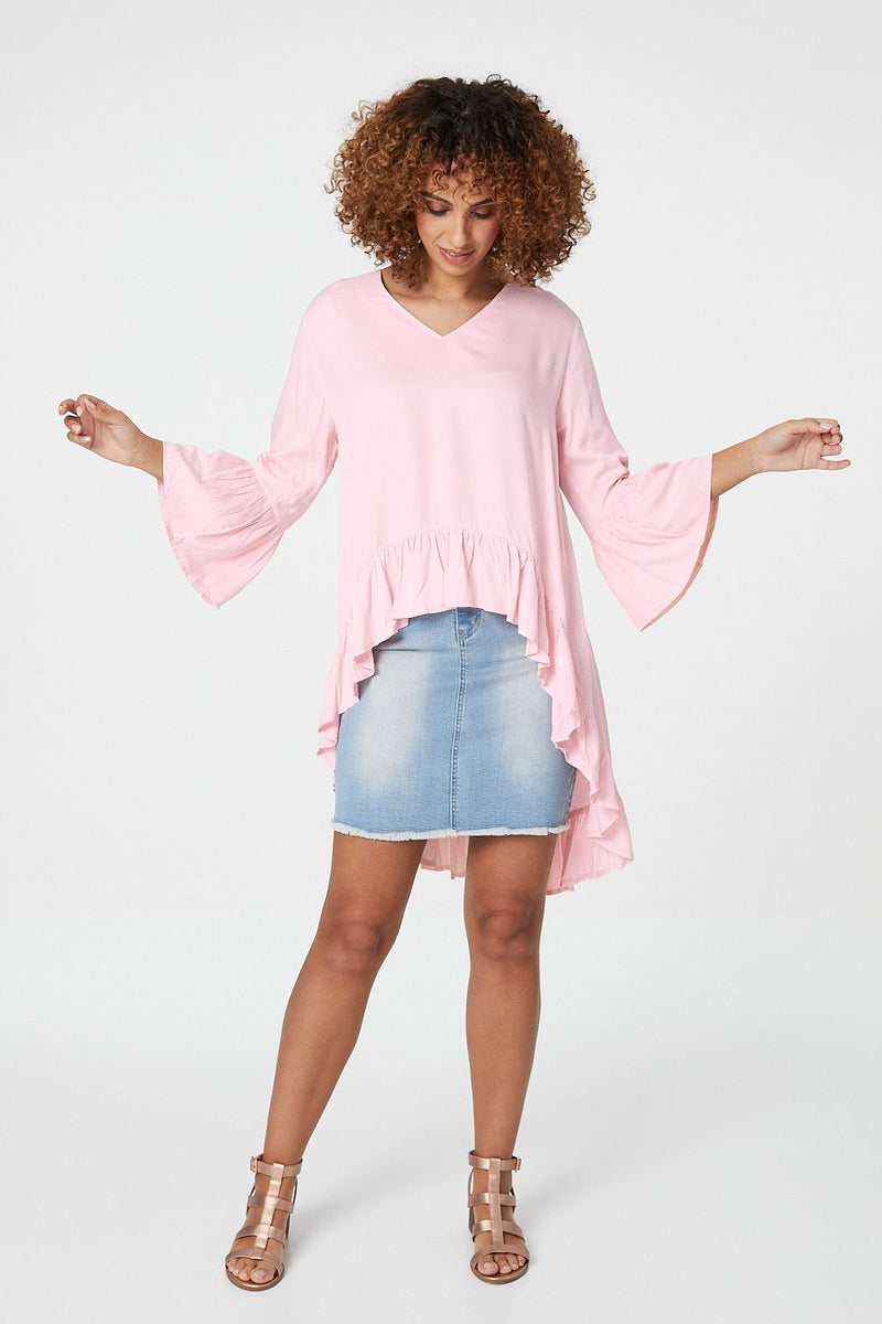 Pink | Flared Sleeve High Low Blouse