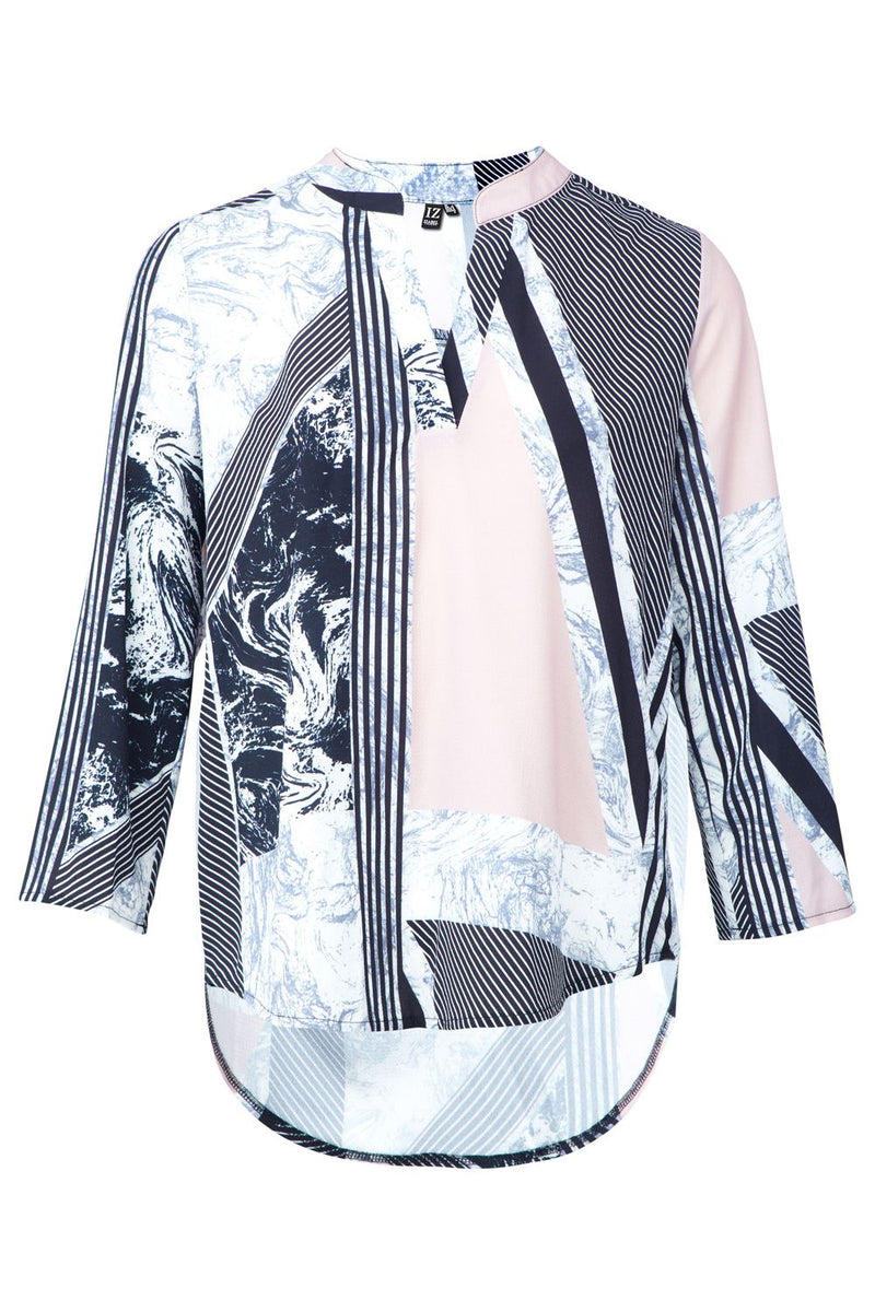 Pink | Striped Marble Print Blouse