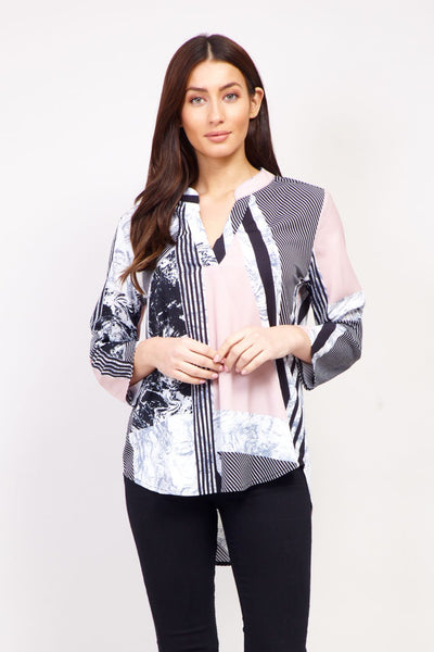 Striped Marble Print Blouse - Izabel London