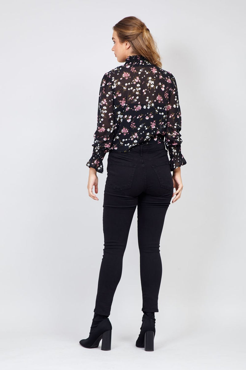 Black | Floral Ruffle Neck Blouse