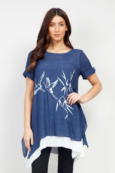 Bird Print Tunic Top - Izabel London