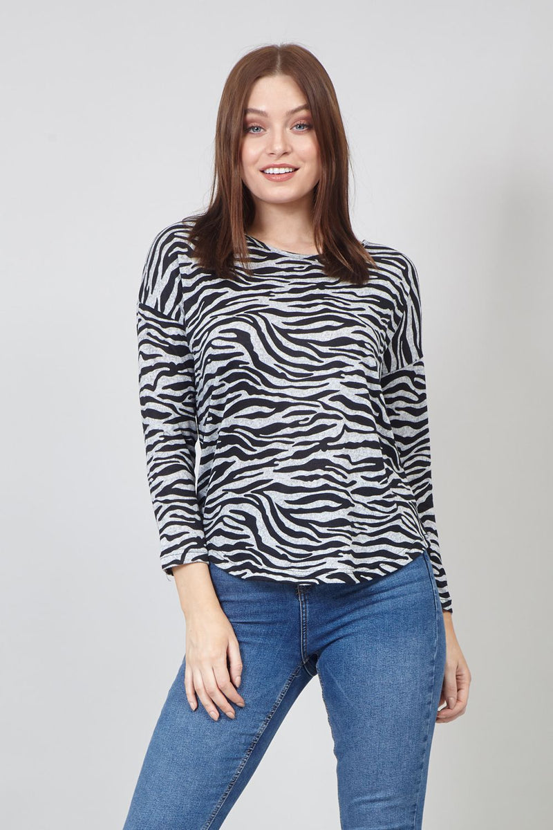 Grey | Zebra Print Curve Hem Top