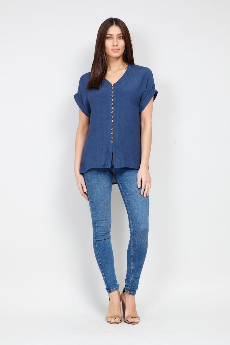 Blue | Button Front Casual Top