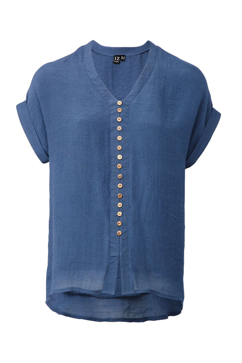 Button Front Casual Top - Izabel London