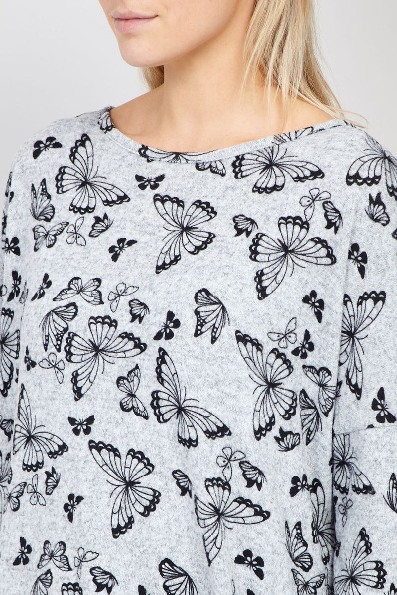 Grey | Butterfly Knitted Top
