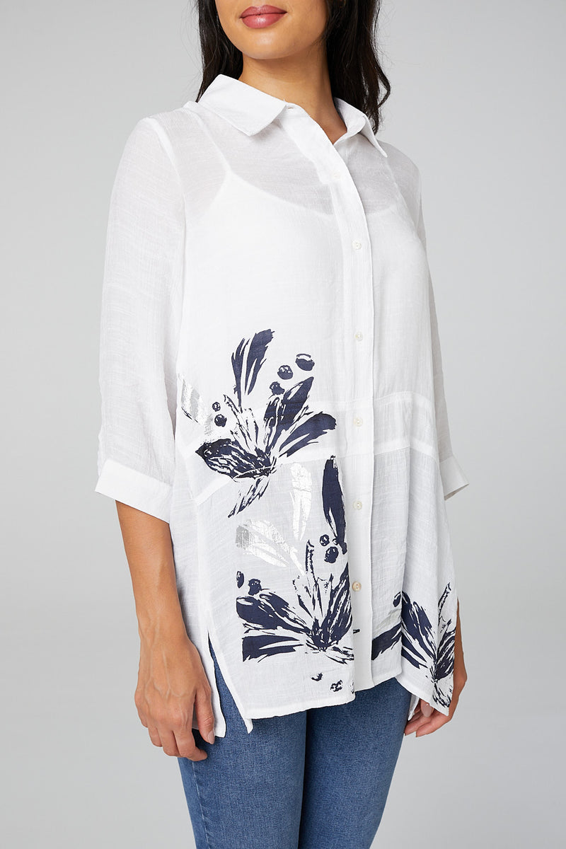White | Floral Border Print Button Up Shirt