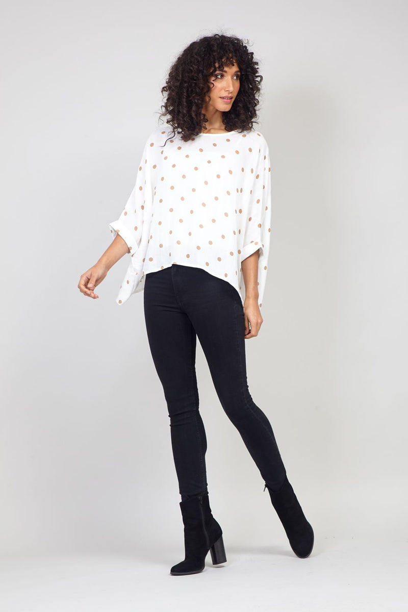 White | Polka Dot Print Oversized Blouse