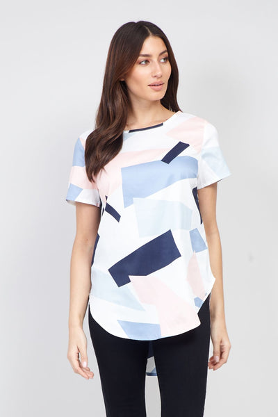 Geo Print Curved Hem T-Shirt - Izabel London